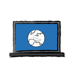 Laptop computer global world information online vector