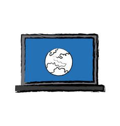 laptop computer global world information online vector image