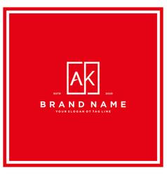Letter ak square logo design concept vector