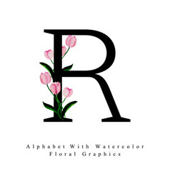 Letter r watercolor floral background vector