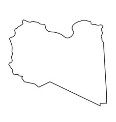 Libya map of black contour curves on white vector