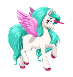magic pony princess beautiful pegasus with long vector image