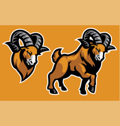 mascot ram in set vector image