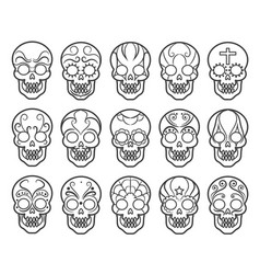 Mexican sugar skull icon set vector