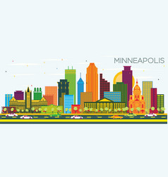 Minneapolis minnesota usa city skyline with color vector