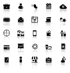 Mobile icons with reflect on white background vector