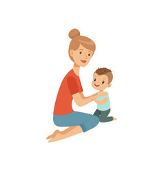 mom embracing her son mother hugging her child vector image