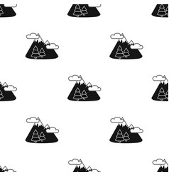 Mountains landscape icon in black style isolated vector