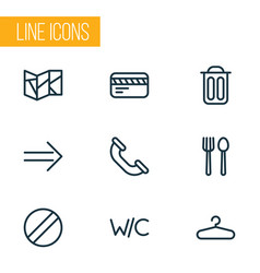Navigation icons line style set with restaurant vector