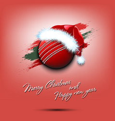 new year and cricket ball in santa hat vector image
