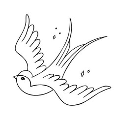 old-school styled tattoo with a swallow editable vector image