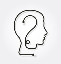 one line forming a human head with question mark vector image