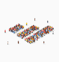 People crowd in form growing chart statistic vector