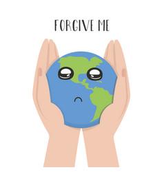 Planet earth in hands man vector