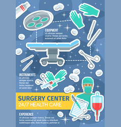 poster of surgery medicine items vector image