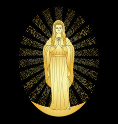 praying gold virgin mary vector image