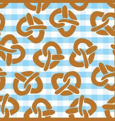 pretzel seamless pattern for oktoberfest vector image