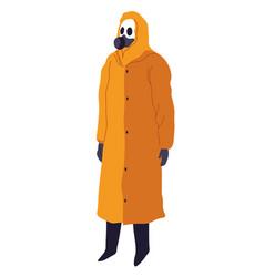Protective costume with respirator mask hazmat vector