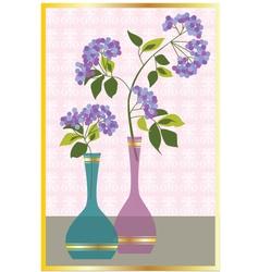 Purple flowers in vases vector