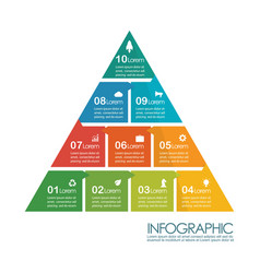 Pyramid infographic chart template vector