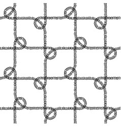 seamless nautical rope pattern black on white vector image