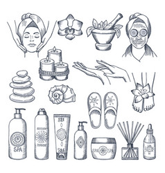Set for spa salon candles oils and vector