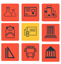 set of 9 school icons includes diploma chemical vector image