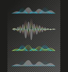 Set of colored sound waves equalizer design vector