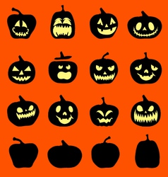 Set pumpkins for Halloween vector image