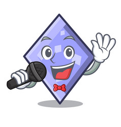 singing rhombus mascot cartoon style vector image