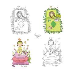 sleeping girls set princess on pea time to vector image