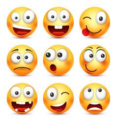 Smileysmiling angrysadhappy emoticon yellow vector