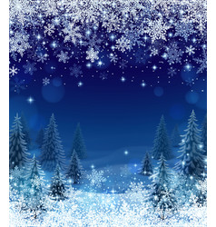 snowfall and forest background for christmas vector image