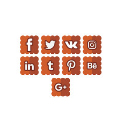 Social icons 4 cookie vector