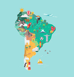 south america tourist map vector image