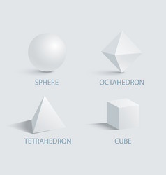 sphere octahedron tetrahedron and cube 3d vector image