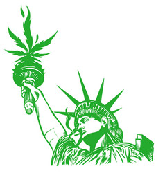 Statue liberty with hemp leaf with joint vector