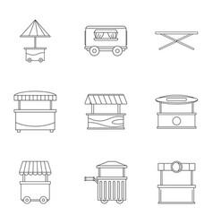 street kiosk icon set outline style vector image