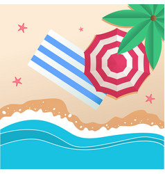 summer beach umbrella beach mat background vector image