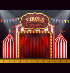 the circus entrance with a red curtain closed vector image