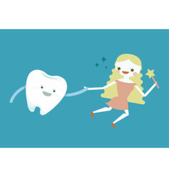 Tooth and fairy girl vector image
