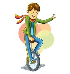 unicycle boy vector image