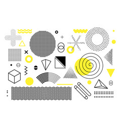 universal trend halftone geometric shapes set vector image