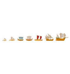 vintage sailboats set vector image
