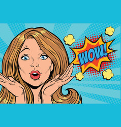 wow delight pop art woman face vector image