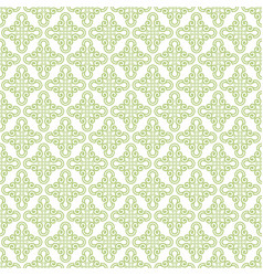 Yellow green damask seamless pattern background vector