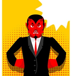 Angry devil Satan is not happy Angry red Demon vector image