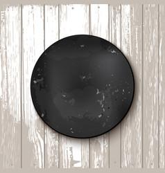 Circle blackboard at white wooden backdrop vector