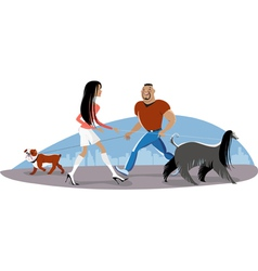 Couple Walking Dogs vector image vector image