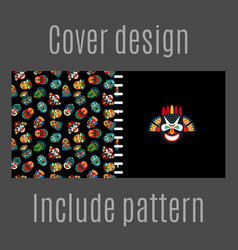 cover design with tribal masks pattern vector image vector image